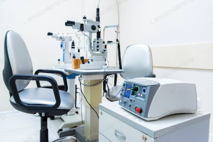 Close up modern ophthalmological laser used for eye surgery on table
