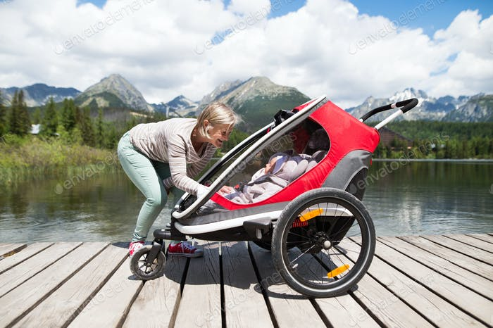 Senior woman and children in jogging stroller, summer day.