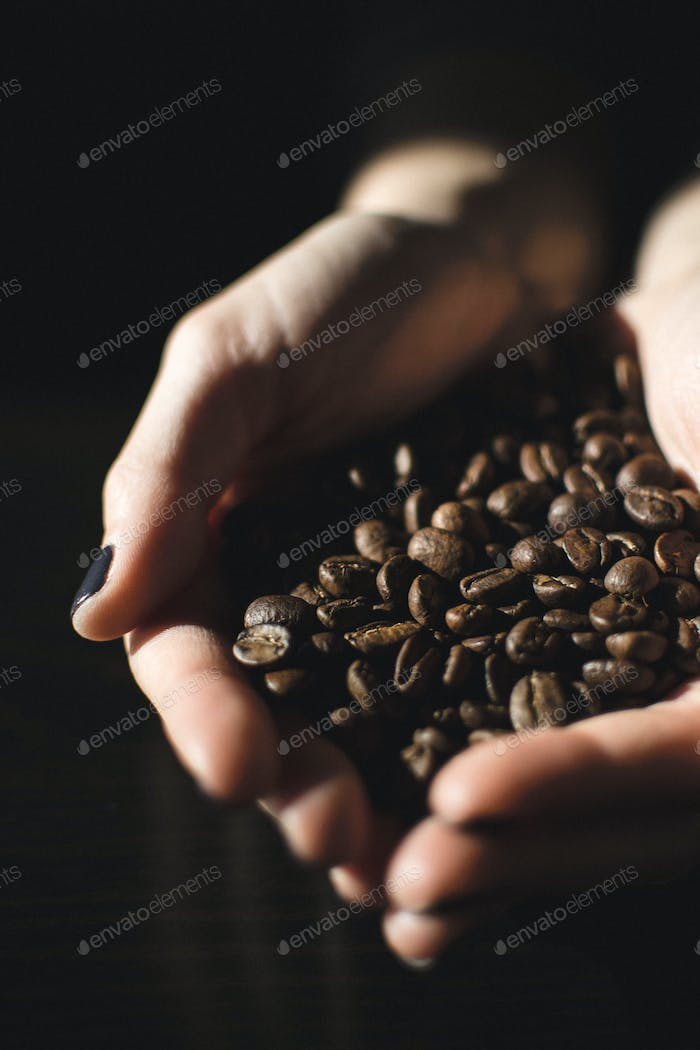 Hands full of coffee beans