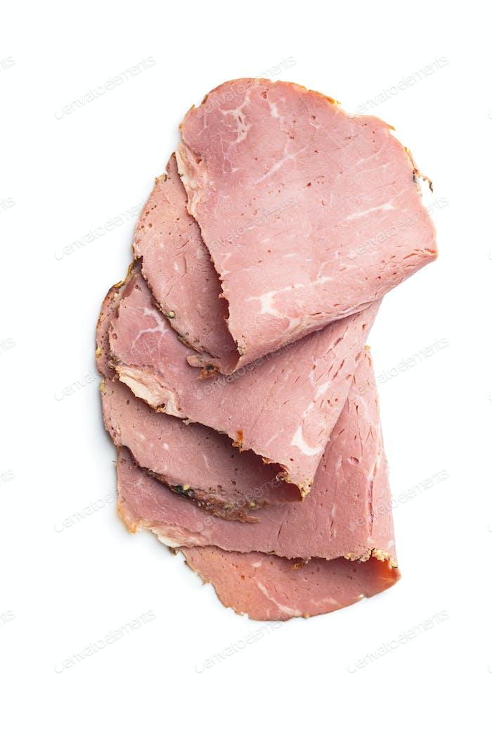 Geschnittenes Roastbeef. Leckeres frisches Fleisch.