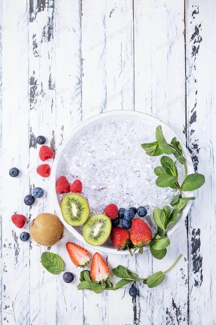 Blueberry, kiwi and strawberry
