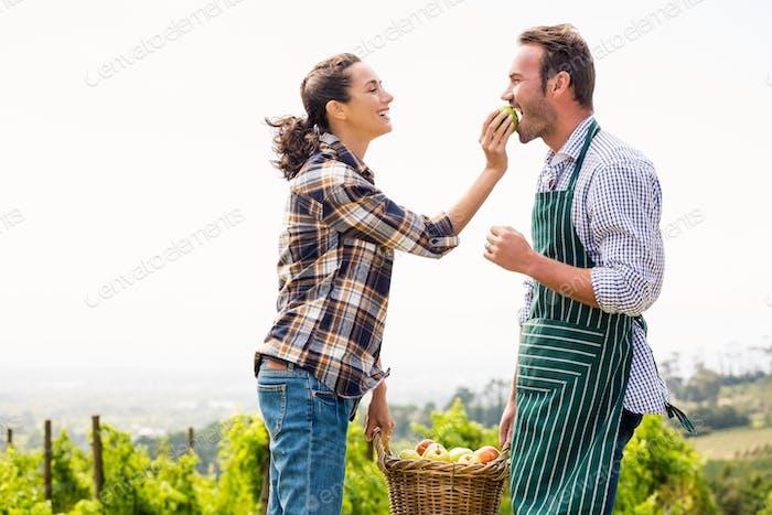Woman feeding apple to man at vineyard