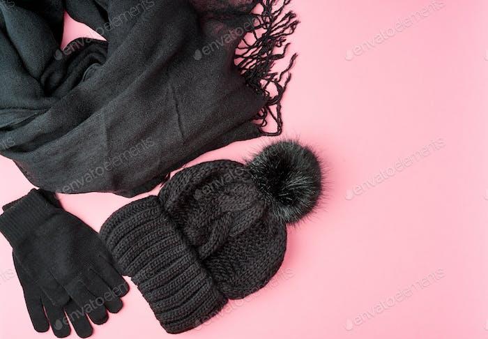 Flache lag Winter oder Herbst warme Frau Accessoires - schwarz gestrickte Schal, Mütze,