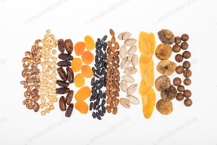 Top View of Assorted Turkish Dried Fruits And Nuts Isolated on White