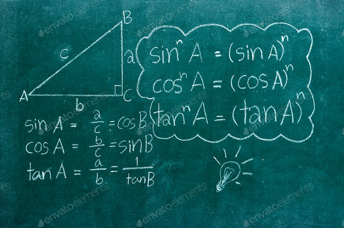 mathematics formulas on a blackboard
