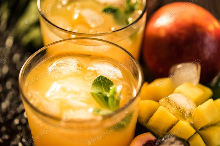 Glasses of juices. Refreshments and summer drinks