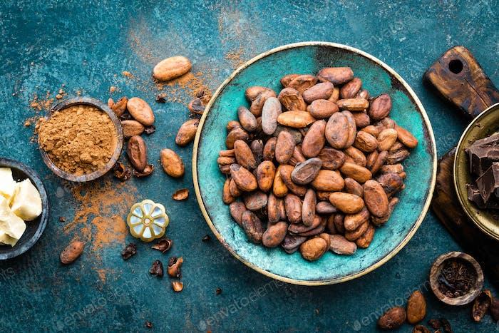 Kakao. Kakaobohnen