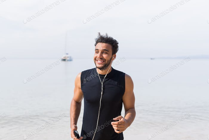 Young Hispanic Man Runner Happy Smiling On Beach Jogging On Seaside Male Latin Sport Fitness