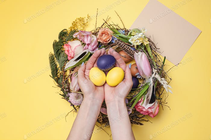 Easter card. Painted Easter eggs in nest on yellow background