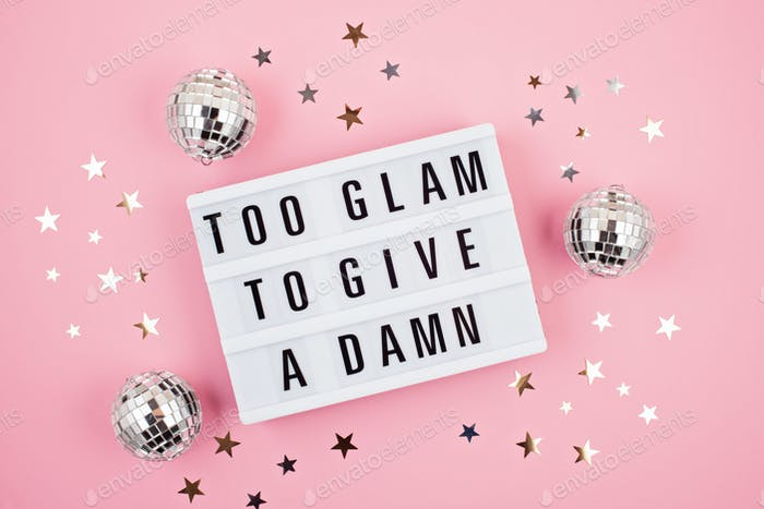 Lightbox with phrase Too glam to give a damn