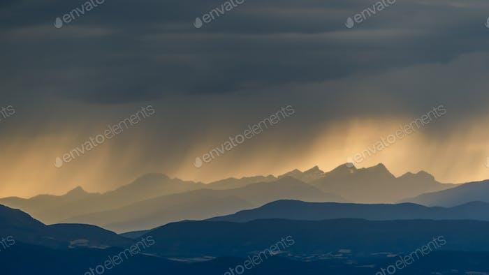 Berge Dramatisch Sonnenuntergang