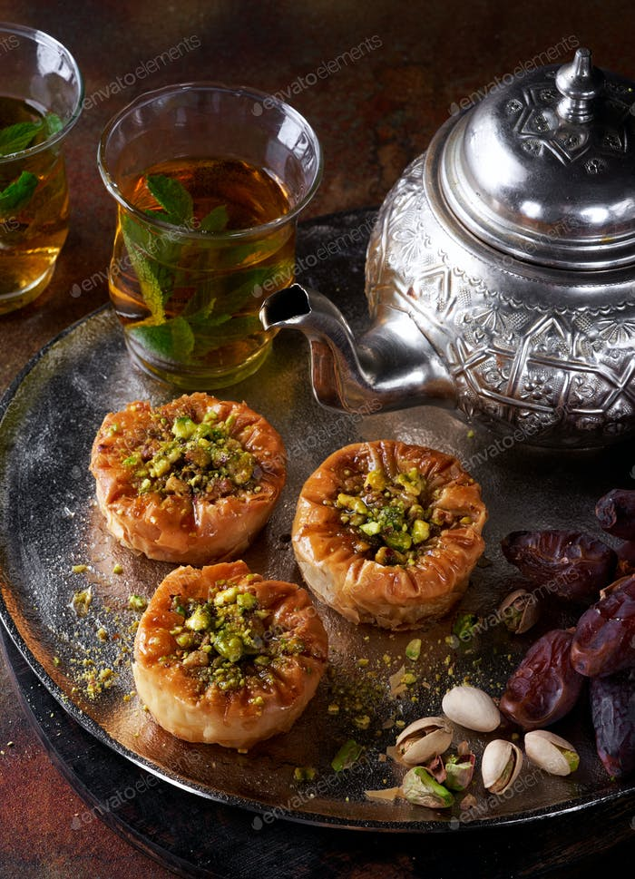 Middle Eastern sweets Phyllo nests. Ramadan.
