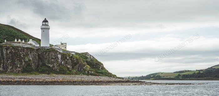 Irish shore panorama with Campbeltown lighthouse