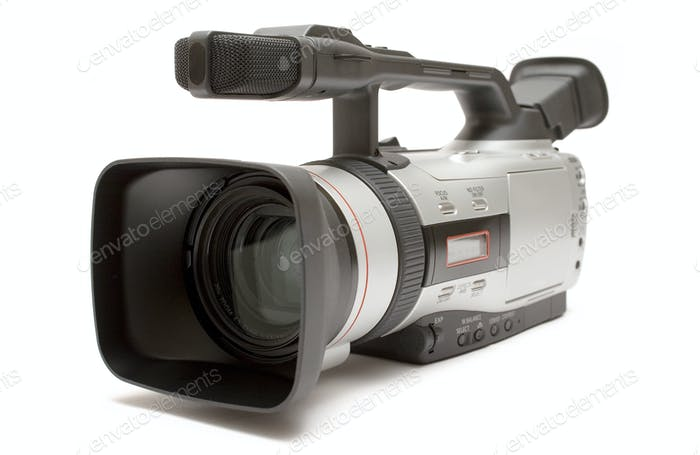 Professional Camcorder Isolated on a White Background