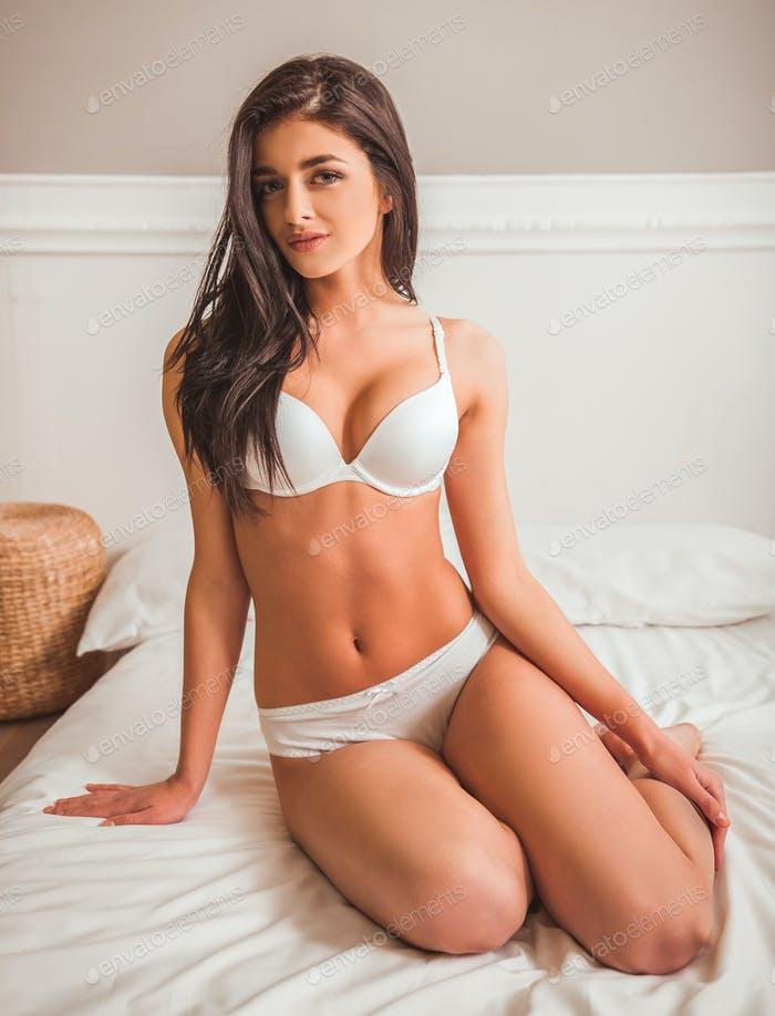 Girl on bed in underwear
