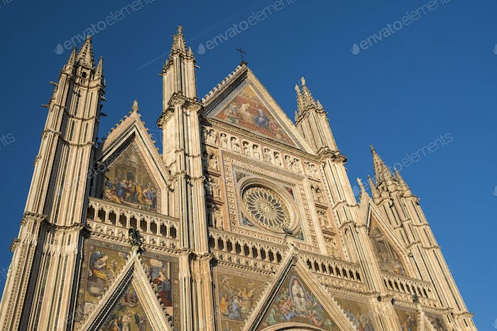 Orvieto (Umbria, Italy), facade of the medieval cathedral, or Du