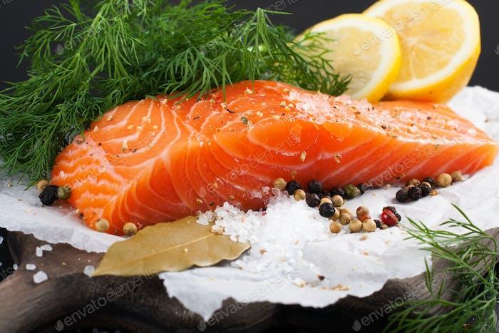 Delicious salmon fillet, rich in omega 3 oil
