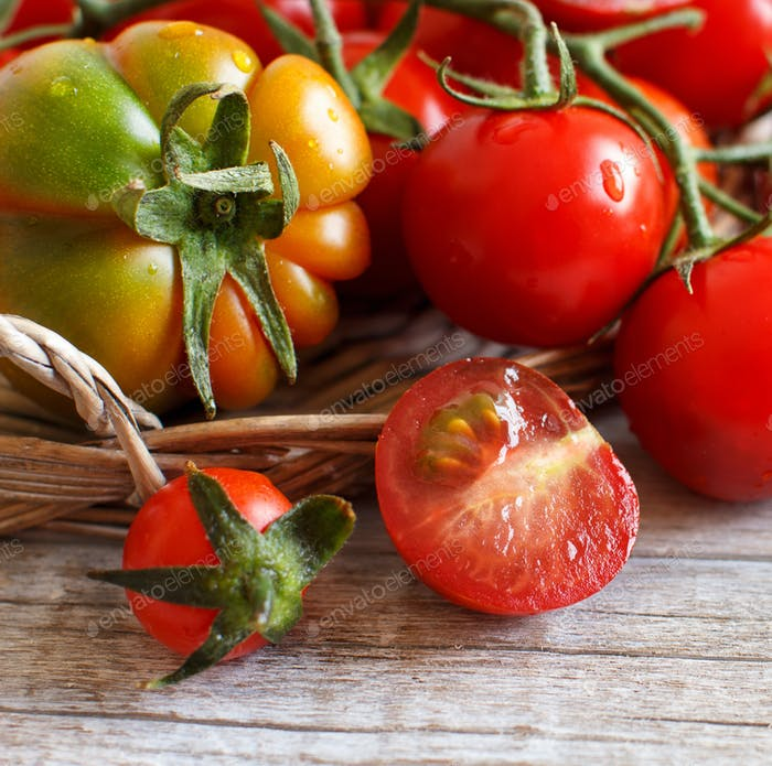 Tomatoes on a wooden table