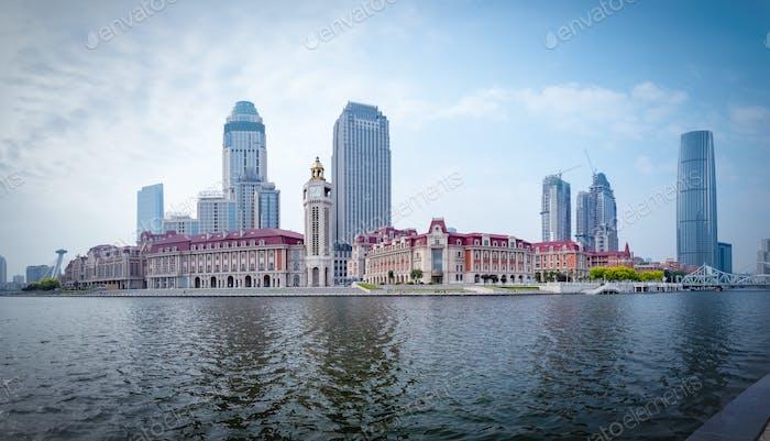 tianjin cityscape of jinwan plaza panorama