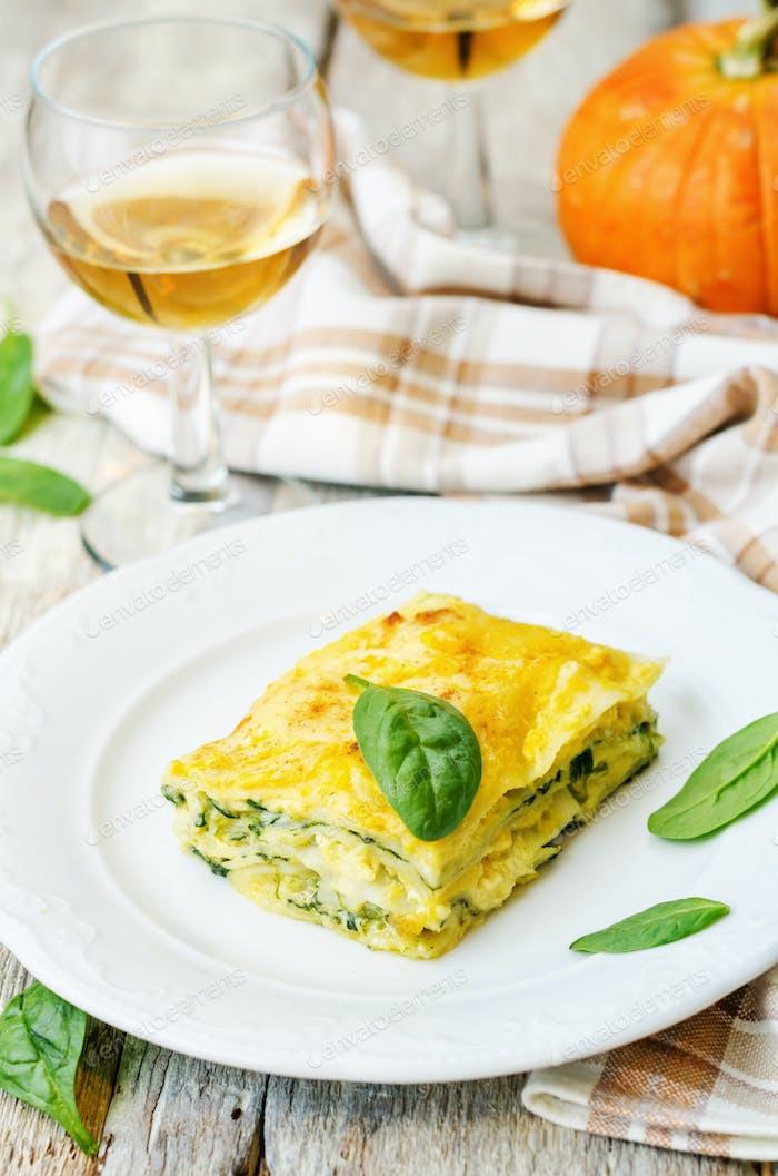 pumpkin ricotta spinach lasagna