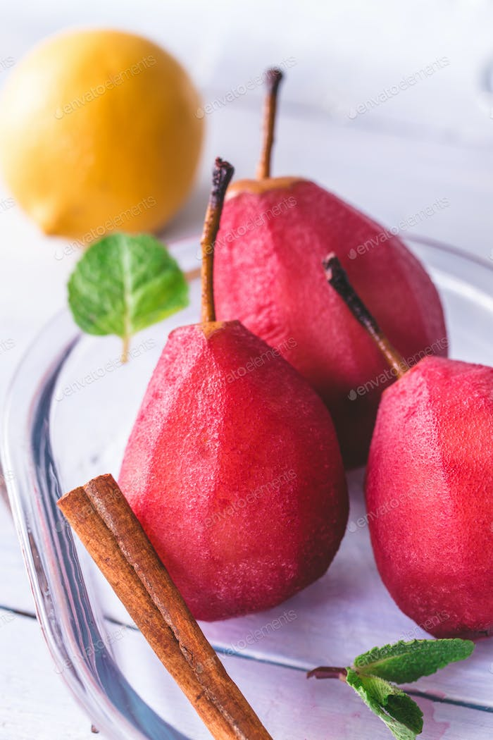 Red wine-poached pears