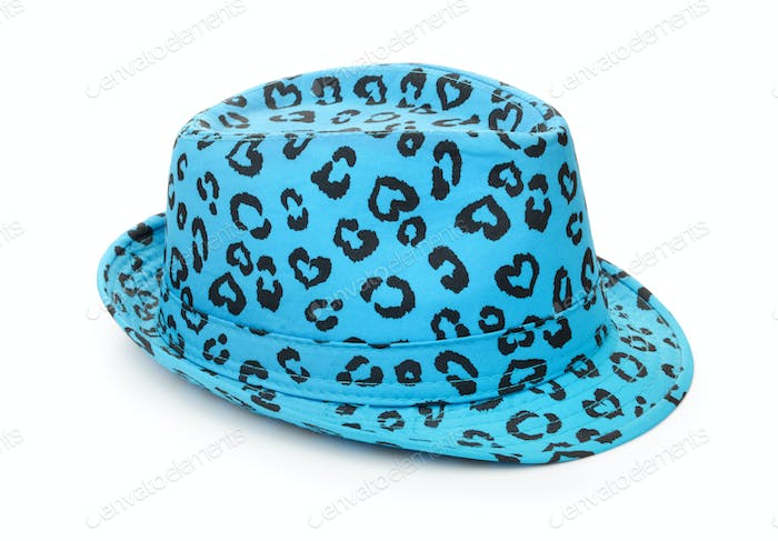 Blue spotted trilby hat