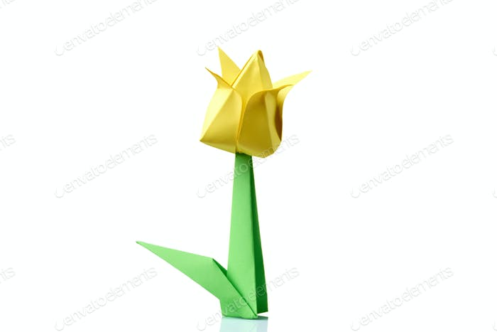 Yellow tulip origami flower