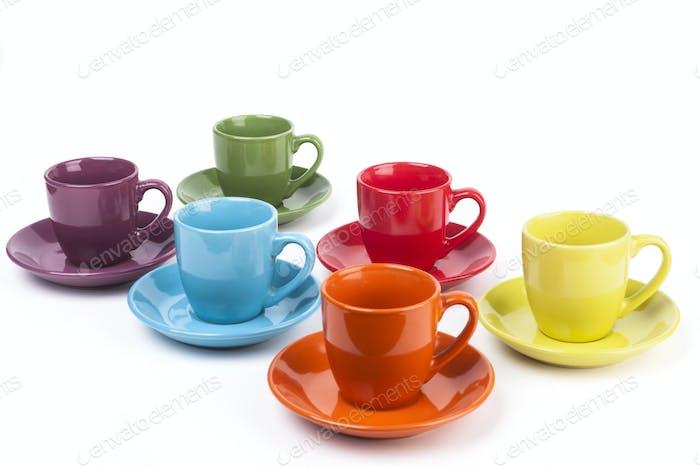 Farbige Kaffeebecher