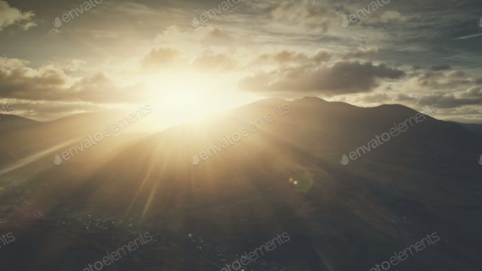 Soft sunrise highland surface scenery aerial view