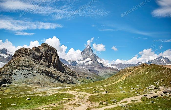 Landscape of Matterhorn mountain, swiss Alps