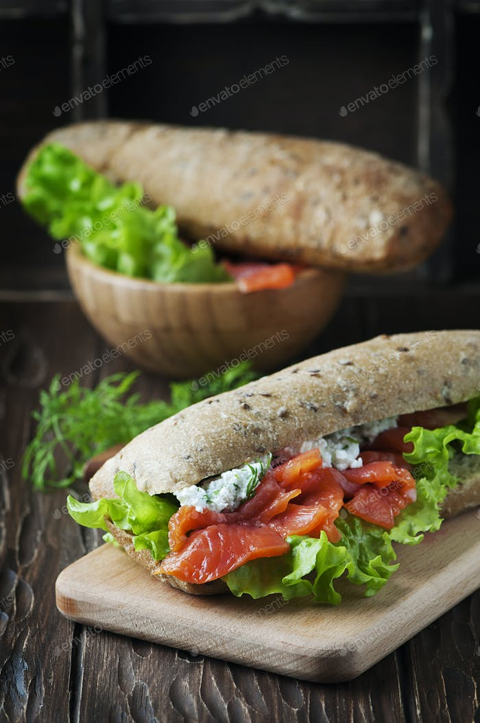 Healthy sandwich with cheese and salmon