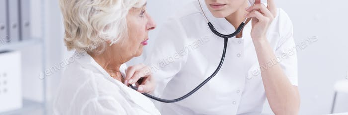 Elderly patient at the doctor