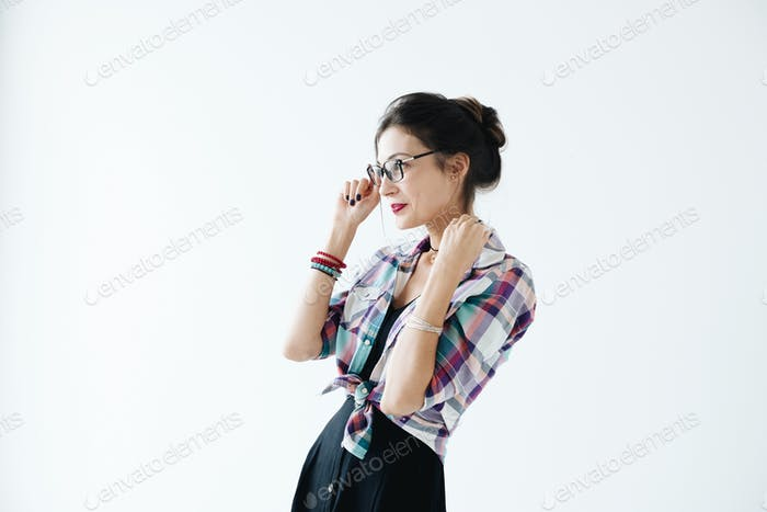 Profile of girl wearing glasses