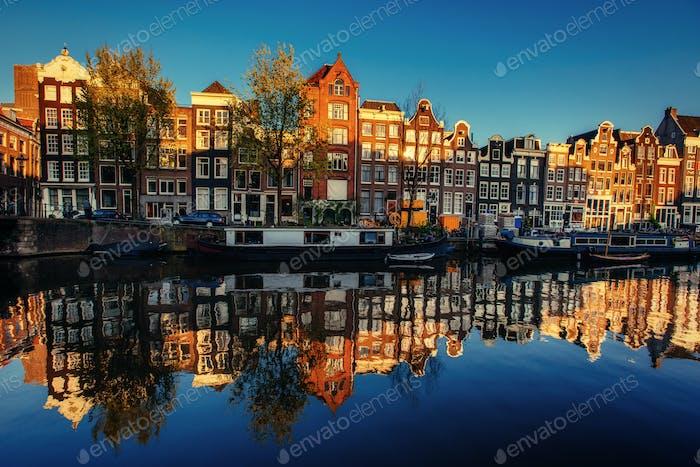 Beautiful night in Amsterdam illumination