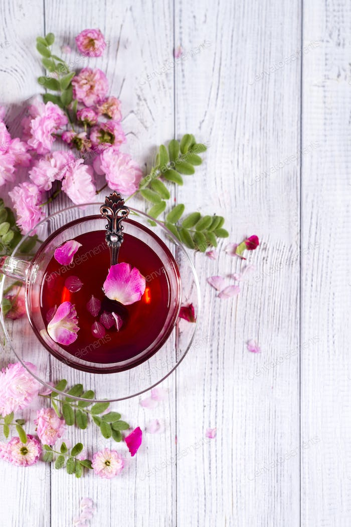 Floral frame with tea cup