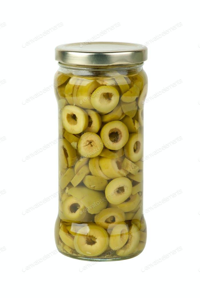 Glass jar with sliced green olives