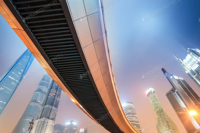 night view of modern metropolis in shanghai