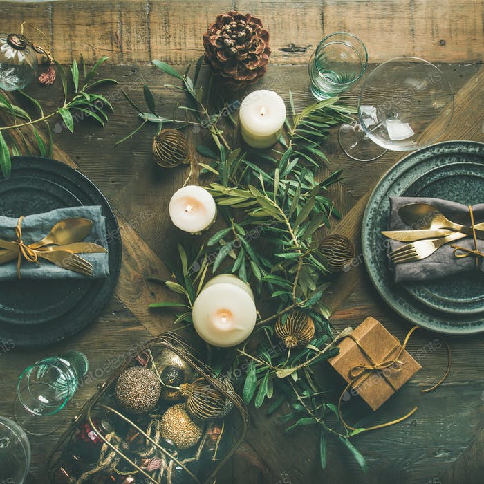 Christmas or New Years celebration party table setting, square crop