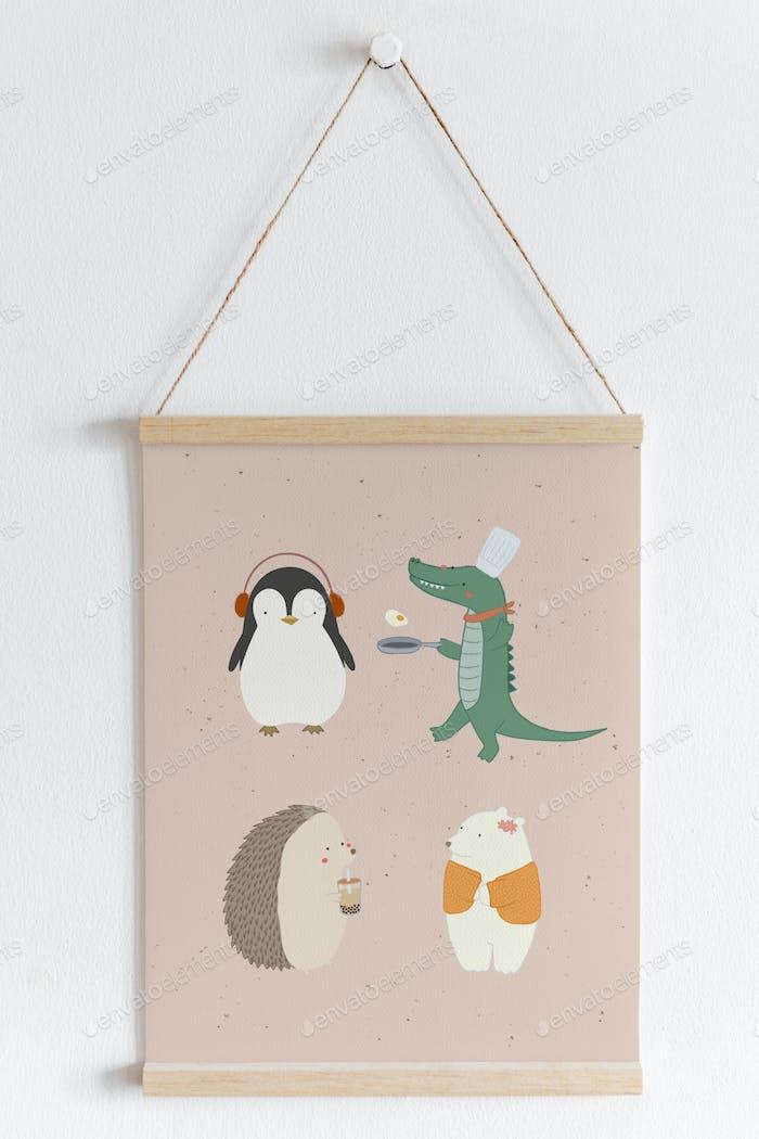 Cute animal patterned banner mockup