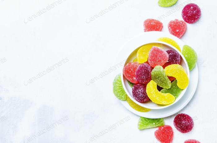 Multicolored marmalade in sugar