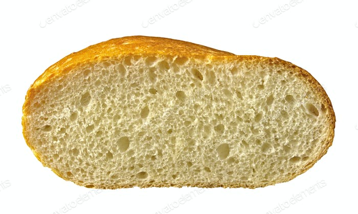 Fresh bread slice isolated on white background