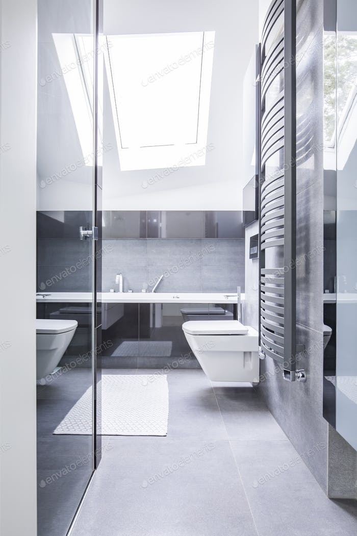 Black and white bathroom interior with reflective tiles, a ceram