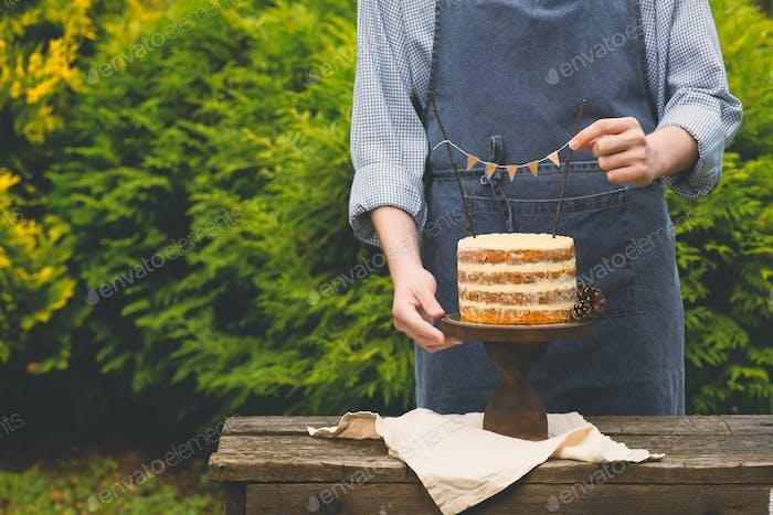 Boy Holding Naked Cake