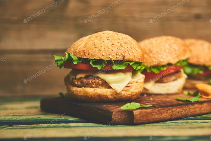 burger on wooden table