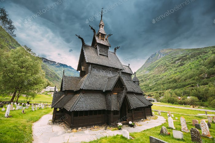 Borgund, Norway. Famous Landmark Stavkirke An Old Wooden Triple