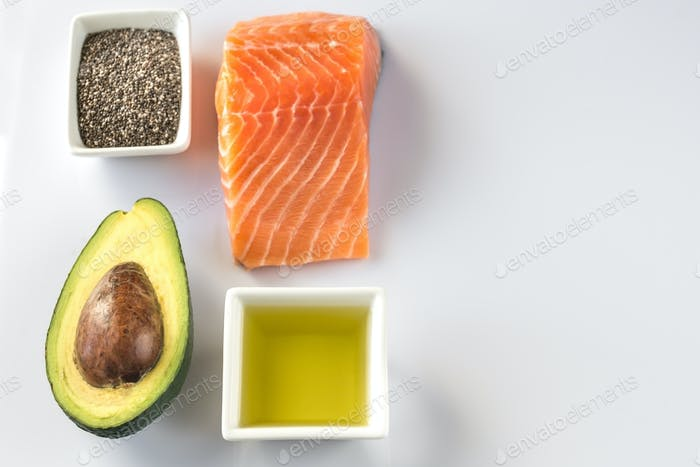 Omega-3 products on the white background