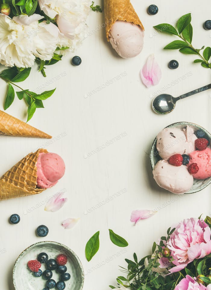 Flat-lay of ice cream scoops and peonies, vertical composition