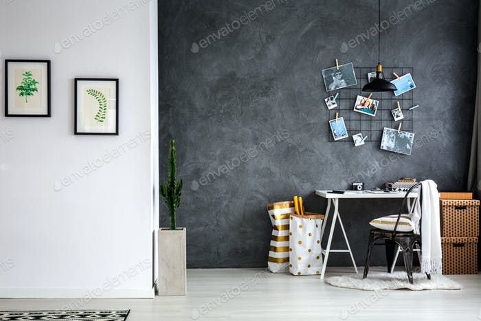 Home office with grey wall