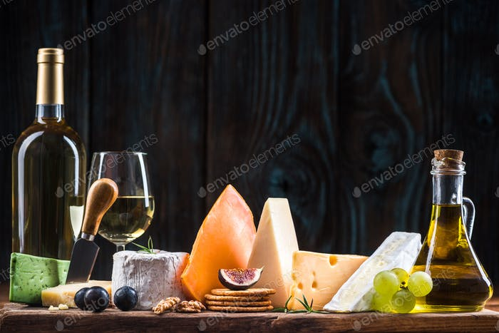 Cheese board, serving healthy festive food