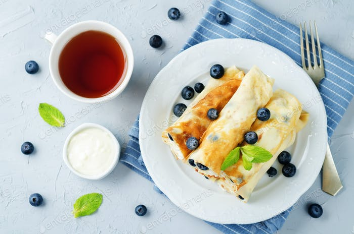 Sauteed Cream cheese Blueberry Crepes